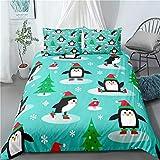 ZHYY Modelo Lindo del pingüino de la Navidad Nueva lecho 3pcs Copos de Nieve Inicio lecho lecho de la Reina Textiles for el Hogar (Color : #3, Talla : US Full-200x229cm)