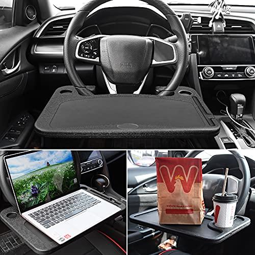 Kshineni Escritorio de volante de coche, bandeja de volante, portátil para vehículos, portátil, estantes de coche para viajeros constantes, se adapta a la mayoría de los volantes de vehículos (negro)