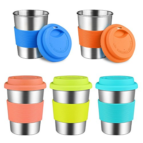 KEREDA Vasos infantiles de acero inoxidable con tapa, 230 ml, sin BPA, apilables, vasos de metal de acero inoxidable para niños, camping, fiestas, hogar, viajes (5 unidades)
