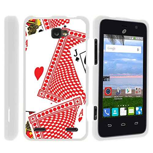 TurtleArmor | Compatible with ZTE Sonata 2 Case | ZTE Zephyr Case | ZTE Paragon Case [Slim Duo] Ultra Compact Hard Snap On Case Slim Cover on White Gambling Casino - Deck of Cards