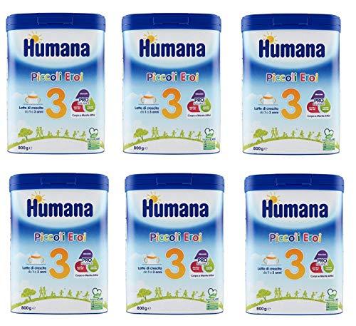 6x Humana Piccoli Eroi Latte di Crescita 3 Wachstumsmilch Milchpulver zum Anrühren von 1 bis 3 Jahren 800g Babynahrung Kindergetränk mit Altersgerechtem Eiweißgehalt