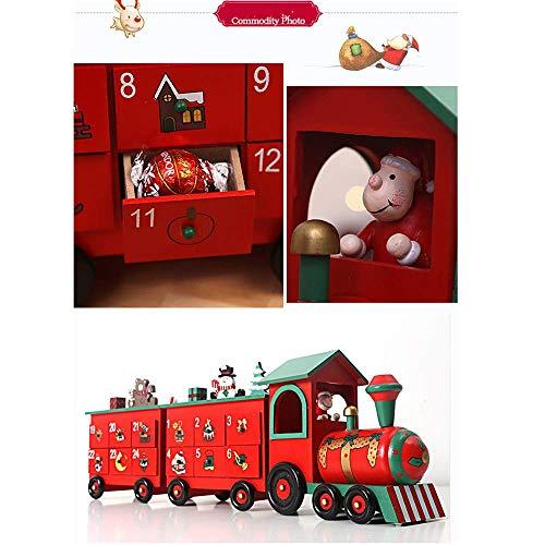 Detazhi Tren de Calendario de adviento de Madera de 24 Pulgadas de Longitud de la Navidad con estatuillas pintadas a Mano y 24 cajones para llenar Dulces o pequeños Regalos