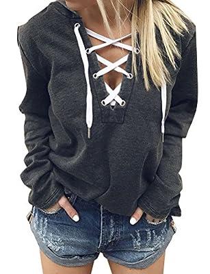 Ezcosplay Women Lace Up Long Sleeve Deep V Neck Casual Shirt Hoodie Tops Blouse Dark Grey