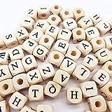 Sprießen 200 PCS Perles d'alphabet en Bois Naturel, Perles de Bois Alphabet Puzzle ABC, pour Encourager la Créativité et L'orthographe des Enfants /Bijoux Bricolage/Bracelets/Colliers/Porte-clés