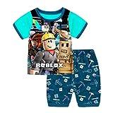 Thombase Niños Gracioso Youtube Jugador Impresión 3D Camiseta + Corto Pijamas Dos Piezas Conjunto Traje Deportivo De Verano (Blue, 10)