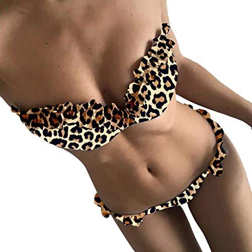 Andouy Damen Rüschen Bikini Set Push Up Zweiteilige Trägerlos Badeanzüge Bademode Beachwear String Thong(S.Schwarz-1)