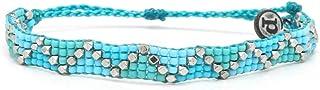 Pura Vida Metal Woven Seed Bead Bracelet - Waterproof, Artisan Handmade, Adjustable, Threaded, Fashion Jewelry for Girls/Women