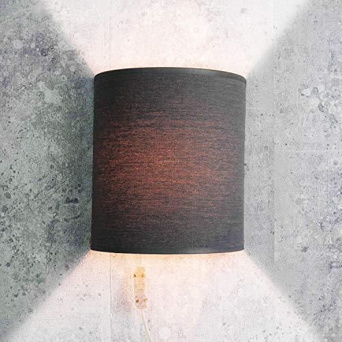 Stoff Wandleuchte mit Kabel Anschluss in Grau elegant Modern Loft Wandlampe ALICE