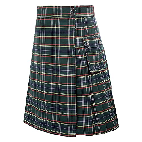 Ekrfxh Pantalones escoceses para hombre Kilt tradicional festival a cuadros cinturn plisado cadena gtico Highland Punk Tartan pantalones faldas con bolsillos, Ejercito Verde, L