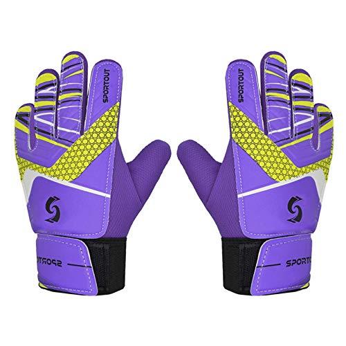 Sportout Guantes de portero para niños y niñas, guantes de entrenamiento (Purple, 6)