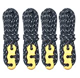 TRIWONDER Tensores con Cuerda Paracord de Nylon Reflexiva Durable para Tiendas de Campaña Toldo al Aire Libre (Negro - 4 pcs)