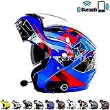 Casco Moto modulare Motocross Cross Helmet Casco Moto Bluetooth Integrato - Connetti Navigazione/Telefono/Musica,T6,XXL(63~64) CM