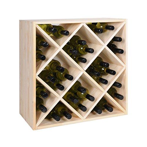 Weinregal / Flaschenregal System, Modul RAUTEN, für 32 Bordeux-Fl., Holz Kiefer natur, stapelbar / erweiterbar – H 60 x B 60 x T 30 cm