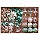 Valery Madelyn Weihnachtskugeln 70 TLG 3-17cm Kunststoff Chrisbaumkugeln Weihnachtsbaumschmuck Set mit Weihnachtsbaumspitze und passende Aufhänger Traditionelles Thema Rot Weiß MEHRWEG Verpackung