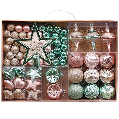 Valery Madelyn Palline di Natale 70 Pezzi Cm Plastic Palline di Natale Decorazioni Albero di Natale con Albero di Natale Lace And Matcher Hanger Elegant Palace Theme Menta Verde Oro Rosa