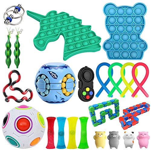 Freshwater 23 Pcs Sensory Fidget Toys Pack,Black and Red Tangle Fidget Toy,Marble Mesh Puzzle Ball Toys for Autistic Children,Push Pop Bubble Sensory Toy for Stress Relief Toys