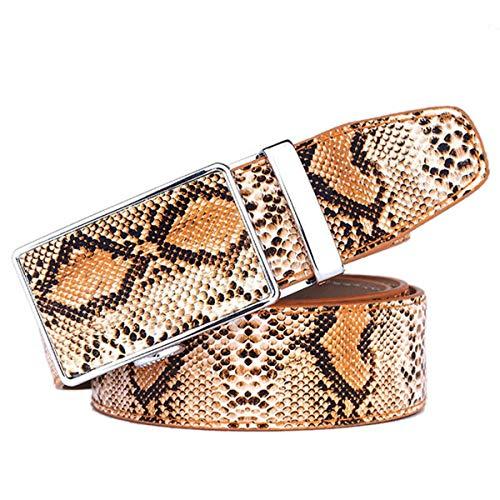 xlygood Herren Leder Schlangenleder Gürtel Herren-automatische Schnalle Gürtel Herren-Business-Gürtel,Brown,110cm
