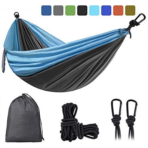 Doppellagige Camping-Hängematte für zwei tragbare Outdoor-Hängematten Leichtgewicht für Rucksacktouren Wandern Sportreisen mit Baumgurten Maximale Belastung von 880 lbs ( Color : Sky Blue/Light Grey )