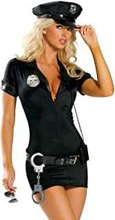 Women's Sexy Police Uniform Cop Halloween Costume with Handcuffs
