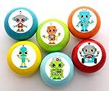 Juego de 6 pomos de madera para muebles con diseño de robots de colores para habitación infantil, color azul petróleo, verde lima, naranja, amarillo, turquesa, rojo, 35 mm, redondos