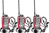 Arcshell Rechargeable Long Range Two-Way Radios with Earpiece 3 Pack Walkie Talkies Li-ion Battery and Charger Included