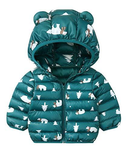 DEMU winterjas baby berenoren capuchon jas gewatteerde mantel sneeuwpakken capuchon mantel 80 groen