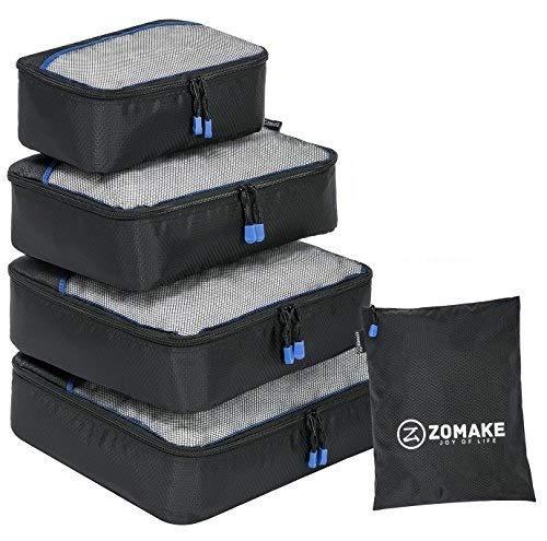 ZOMAKE Packwürfel,packtaschen im 4-teiligen,ltra-leichte Koffer Organizer Set Ideal für Seesäcke, Handgepäck und Rucksäcke (Schwarz)