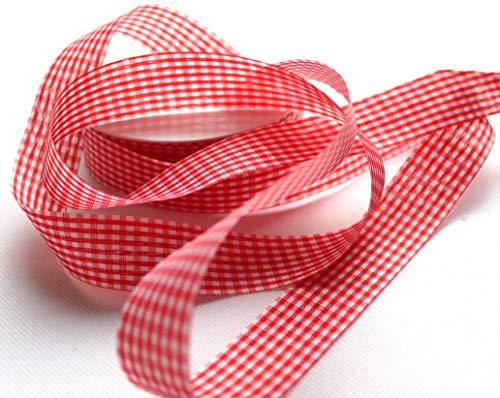 CaPiSo 50m Karoband 25mm Vichy Geschenkband Landhaus Schleifenband Vichykaro Dekoband (Kleines Karo Rot)