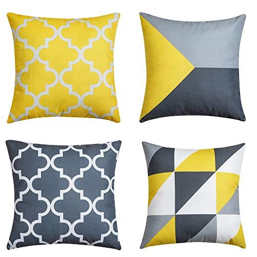 QUALKNOY Juego de 4 fundas de cojín amarillas para exterior, decorativas, cuadradas, para sofá, habitación, dormitorio, con cremallera invisible, 45 x 45 cm