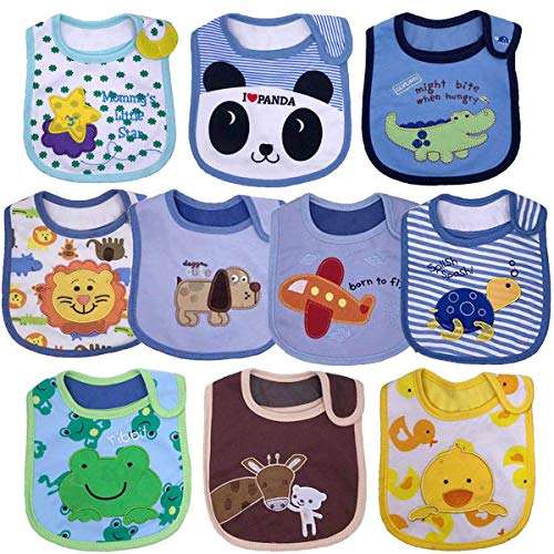 Yafane Baby Bibs Waterproof Layer Absorbent Bandana Drool Bibs Cotton for Infant Toddler 3-24 Months 10 Packs