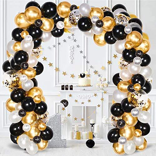 SPECOOL Ballon Garland Kit Wit & Zwart & Goud Latex Ballonnen Arch Garland Pack voor Bruids Douche Verjaardagsfeestje Verjaardag Afstuderen Middelpunt Achtergrond Decoraties