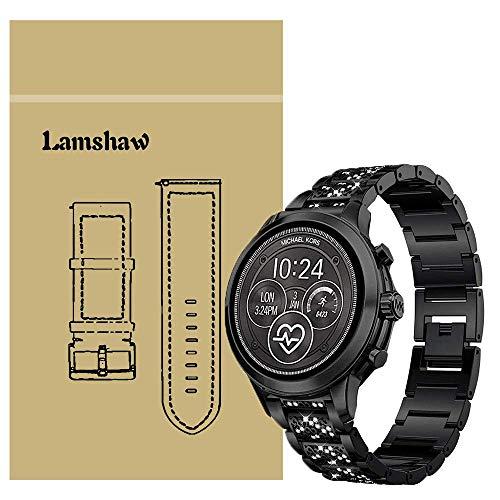 Ceston Diamante de imitación Metalica Acero Moda Correas para Reloj Inteligente Michael Kors Runway (18mm, Negro)