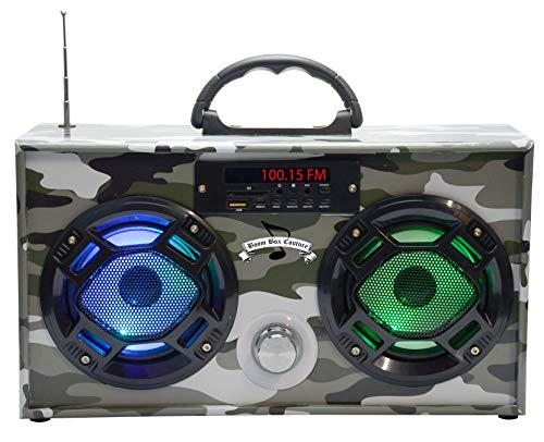 Wireless Express - Mini Boombox with LED Speakers –Retro Bluetooth Speaker w/Enhanced FM Radio - Perfect for Home and Outdoor (Green Camo)
