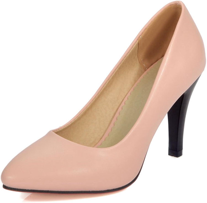 York Zhu Women Pumps, Casual Black Slip-on Pointed Toe Thin Heel Office shoes