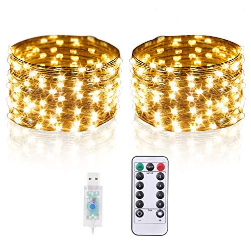 2er-Pack 5M 50 LEDs Lichterkette Warmweiß, Strombetrieben mit USB-Anschluss, IP67 Wasserdicht Außenlichtketten mit Fernbedienung inkl. Batterie, Deko für Party, Weihnachten