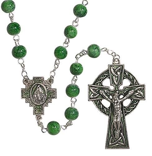CB Green Celtic Rosary with Miraculous Medal Centerpiece Saint Patrick Blessing Prayer Card
