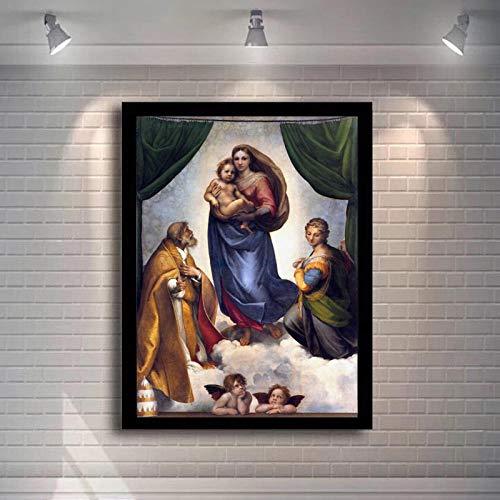 WJY Berühmte Gemälde Raphael Sixtinische Madonna Poster und Drucke Wandkunst Leinwand Gemälde Madonna von Jesus Bild an der Wand Decor 50cm x75cm Kein Rahmen