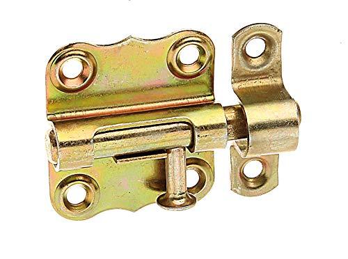 GAH-Alberts 123352 Grendelriegel   mit Knopfgriff und ohne Feder   galvanisch gelb verzinkt   Platte 33 x 35 mm   Bolzen-Ø 7 mm