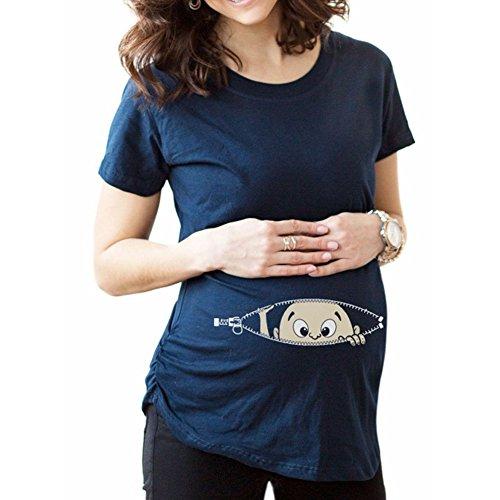 Q.KIM Premaman Divertenti Baby Magliette Premaman Stampa Divertente Tops T-shirt Gravidanza Donna I'm coming ,Blu L