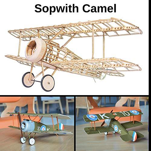 Sopwith Camel Slow Flyer KIT, 505 mm Spannweite, Maßstab 1/20, Modellflugzeug zum selber Bauen, Balsa Holz Bausatz, RC Modell Baukasten, 245 x 380 x 128 mm groß, Lasercut, 54,1 g Fluggewicht