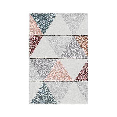 Liveinu Skandinavien Teppich mit Anti-Rutsch Unterstützung Wohnzimmer Teppich Abwaschbarer Kurzflor Teppich Muster Geometrisch Teppiche Fußmatten für Esszimmer Schlafzimmer Kinderzimmer 100x160cm