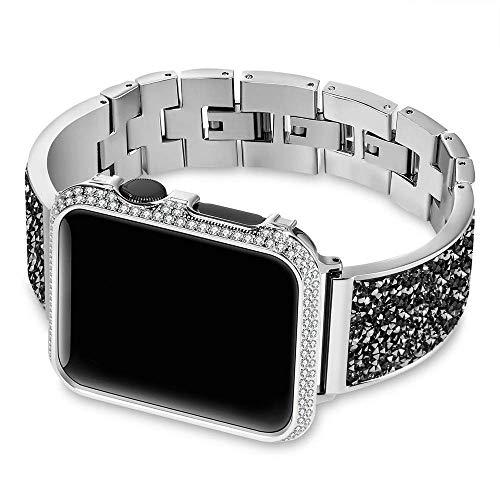 Bandas de Reloj, Correas de Reloj Caja de Diamantes + Correa Banda 44 mm 40 mm 38 mm 42 mm Cubierta IWatch Series 5 4 3 2 1 Pulsera de Acero Inoxidable Mujer # 0000