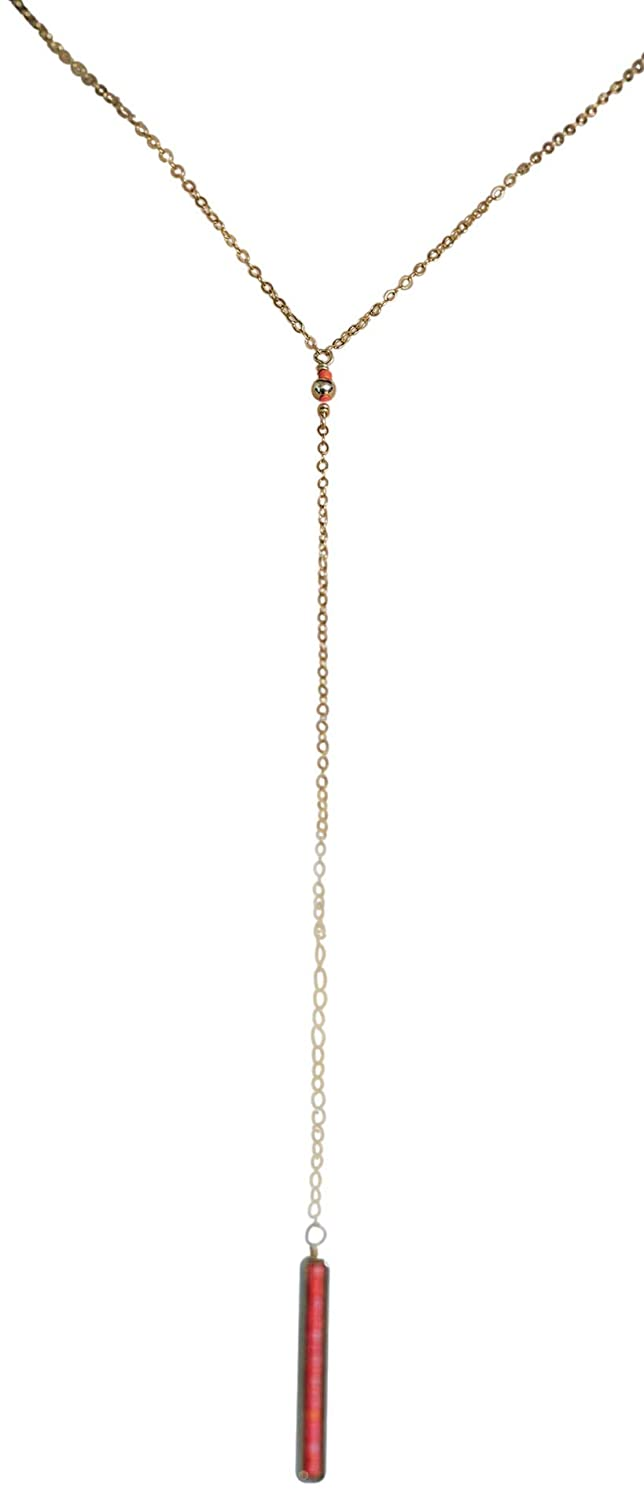 Coral Seed Bead Pendant Max 76% OFF Gold Lariat Jewelry Filled Necklace Gift Mail order cheap