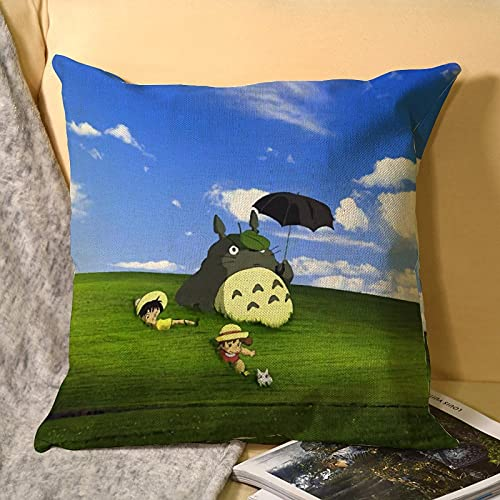 Best-design My Neighbor Totoro - Fundas de cojín decorativas de microfibra suave estilo fundas de almohada europeas para sofá dormitorio cuadrado