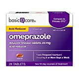 Amazon Basic Care Omeprazole Delayed Release Tablets 20 mg, Acid Reducer, treats frequent heartburn, 28 Count