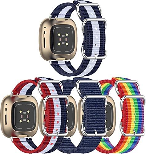 Nylon Trenzado Correa de Reloj Compatible con Fitbit Versa 3 / Fitbit Sense, Clásicos exquisitos Pulseras de la Correa de los Hombres (4-Pack G)