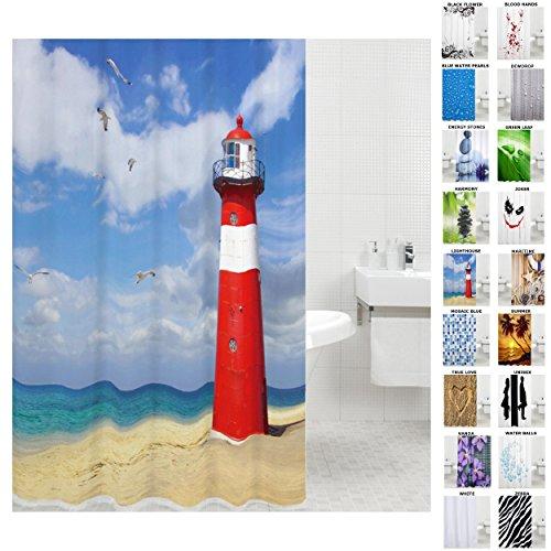 Sanilo Duschvorhang, viele schöne Duschvorhänge zur Auswahl, hochwertige Qualität, inkl. 12 Ringe, wasserdicht, Anti-Schimmel-Effekt (180 x 200 cm, Lighthouse)