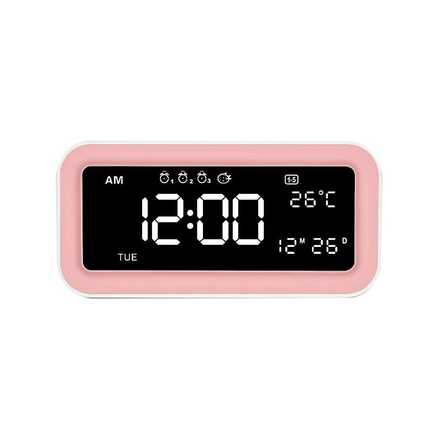 メッシュ精度円周スヌーズ付きアラームクロック、デュアルアラーム携帯電話充電、ナイトライト、クロックディマーコントロール、アラームスリープ補助入力USB充電ポート、キ,Pink