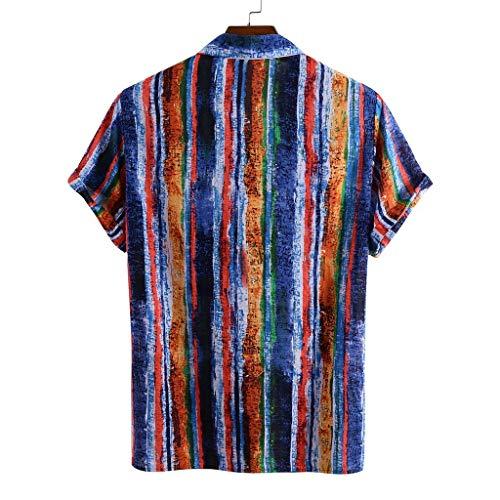 Kenmeko Camicie Uomo A Righe Stampate Girocollo Collo Manica Corta Casual (M,9Blu)