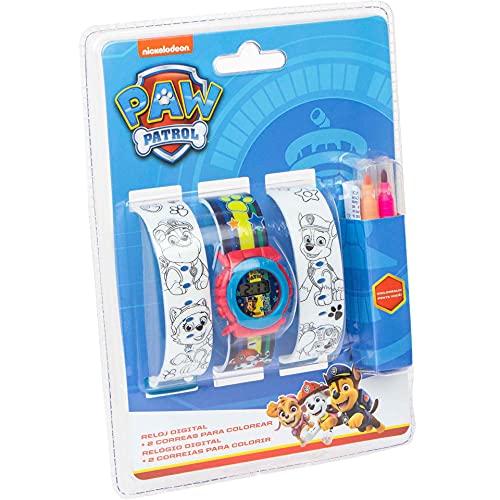 Kids Licensing |Reloj Digital para Niños | Patrulla Canina |Correas para Pintar |Reloj Infantil Resistente | Reloj de Pulsera Infantil Ajustable| Reloj de Aprendizaje | Licencia Oficial